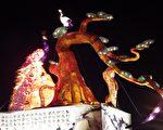 偶戏春秋灯区总彩排抢先看,8公尺巨偶吸睛。(云县府提供)