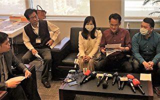 實習學生由台中市議員張耀中(右2)陪同召開記者會。(黃玉燕/大紀元)