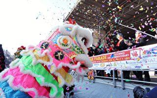 芝加哥華埠雞年新年遊行2月5日在華埠主街永活街熱鬧登場。(溫文清/大紀元)