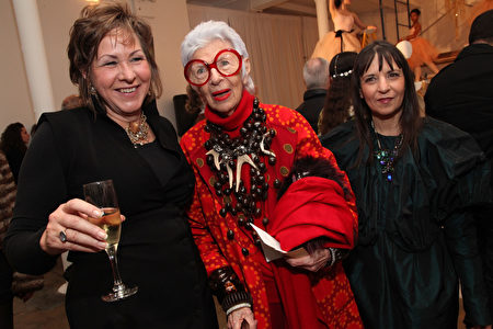 NEW YORK, NY - FEBRUARY 13: (L-R) Erickson Beamon jewelry designer Vicki Beamon, Iris Apfel and Erickson Beamon jewelry designer Karen Erickson pose for photos with dancers from the Bolshoi Ballet Academy United States Youth Program during the Erickson Beamon Fall/Winter 2011 Presentation at Milk Studios on February 13, 2011 in New York City. (Photo by Astrid Stawiarz/Getty Images for Erickson Beamon)