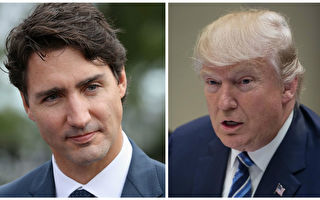 加拿大總理賈斯廷‧特魯多於週一(2月13日)訪問華盛頓,與美國總統川普(特朗普)進行會晤。(大紀元合成)