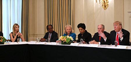 伊万卡本周参与川普和企业执行长举行的政策会议。(Photo by Chip Somodevilla/Getty Images)
