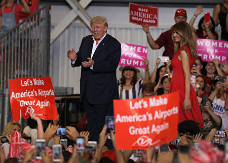 MELBOURNE, FL - FEBRUARY 18: President Donald Trump and Melania Trump are seen during a campaign rally at the AeroMod International hangar at Orlando Melbourne International Airport on February 18, 2017 in Melbourne, Florida. President Trump is holding his rally as he continues to try to push his agenda through in Washington, DC. (Photo by Joe Raedle/Getty Images)