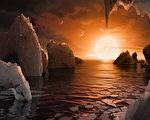 NASA公布的TRAPPIST-1f想像图。TRAPPIST-1f为7颗绕行矮恒星TRAPPIST-1的类地行星之一。(NASA/NASA via Getty Images)