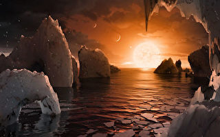 NASA公布的TRAPPIST-1f想像圖。TRAPPIST-1f為7顆繞行矮恆星TRAPPIST-1的類地行星之一。(NASA/NASA via Getty Images)