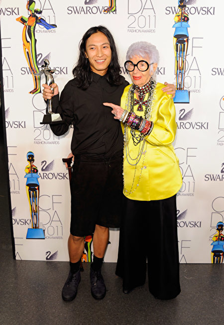 NEW YORK, NY - JUNE 06: Honoree Alexander Wang (L) poses backstage with Iris Apfel at the 2011 CFDA Fashion Awards at Alice Tully Hall, Lincoln Center on June 6, 2011 in New York City. (Photo by Andrew H. Walker/Getty Images)