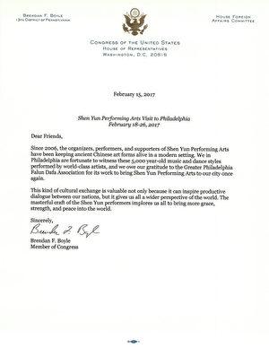 美國聯邦眾議員Brendan F. Boyle發出褒獎信。(大紀元)