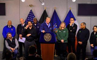 9日上午,紐約市長白思豪在布碌崙的紐約市應急中心,說明應急措施。 (莊翊晨/大紀元)