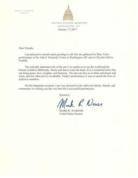 联邦参议员Mark Warner欢迎神韵先后莅临华盛顿DC的肯尼迪中心和诺福克的克莱斯勒音乐厅进行演出。(大纪元)