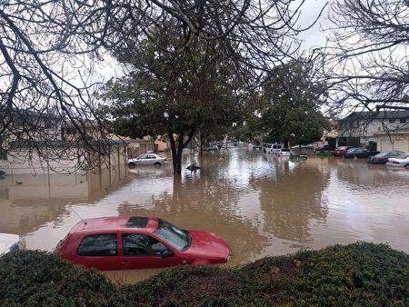 圣荷西市一些低洼社区被水淹没,圣荷西市宣布进入紧急状态。(圣塔克拉拉谷水利局提供)