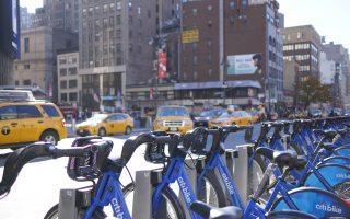 """纽约市交通委员会拟推让纽约的五个区都有""""Citi Bike""""。 (洪雅文/大纪元)"""
