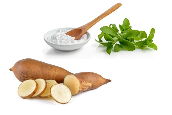 甜菊糖和雪莲果的升糖指数都只有1,完全不含热量,不会让人发胖。甜叶菊可降血糖、降血压;雪莲果糖浆含低聚果糖,还有减肥、防癌、壮骨等保健功效。(fotolia)