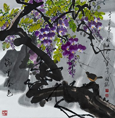 《瑞里春色》作品用色丰富,受到参观者极大的赞赏。(嘉义市政府提供)