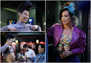 《菜鸟新移民》剧照,图左为林书豪,与温明娜(右)客串演出。(FOX提供)