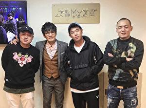 罗文裕(左二)最近主持新节目《大声MY客风》,日前更请到好友玖壹壹上节目玩音乐。(上行音乐提供)