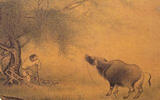 宋 佚名《柳塘呼犊》册 绢 设色。(公有领域)