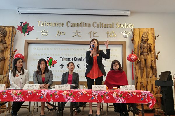 图: 3月18日,五位台裔省议员候选人与选民见面,分享各自从政心路与竞选重点。从左到右为康安礼,马博文,林欣呈,陈苇蓁和邱丽莲。(邱晨/大纪元)