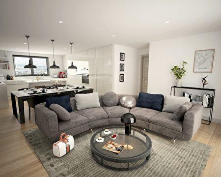 曼彻斯特精华区CBD(曼城天下)建案室内照片。(五都海外置业提供)