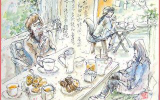 淡彩速写 / 偶然相遇的旅人(图片来源:作者 邱荣蓉 提供)
