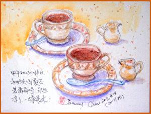 水性色铅笔速写 / 餐后热咖啡(图片来源:作者 邱荣蓉 提供)