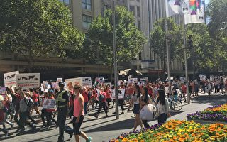 動物保護組織維州動物解放組織(簡稱ALV)週3月11日在墨爾本CBD舉行了遊行集會,要求關閉澳洲屠宰場。(Laura/大紀元)
