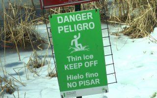 在中央公園的湖邊隨處可見很多的警示牌。 (韓瑞╱大紀元)