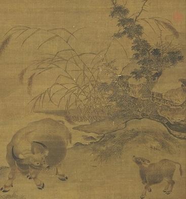 宋 佚名《平畴呼犊》轴‧ 绢本‧设色画。台北故宫博物院藏。(公有领域)