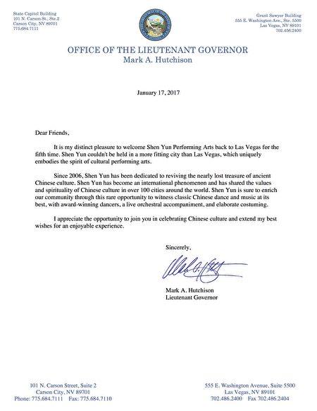 内华达副州长马克 ·A· 哈奇森(Mark A. Hutchison)的贺信。(大纪元)