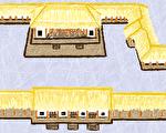 夏朝文化二里头一号宫殿复原图(公有领域)