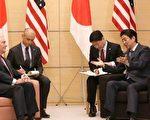 蒂勒森16日会见了安倍晋三及日本外相岸田文雄,讨论朝鲜核威胁。蒂勒森承认,过去20年来的外交努力都未能阻止朝鲜的核计划,需要找到新的解决方法,并强调美日韩三方合作对处理这一问题至关重要。(AFP)