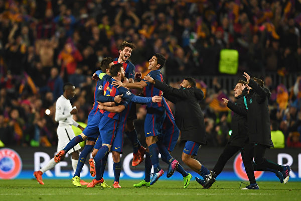 巴塞罗那6-1击败大巴黎,完成了载入史册的逆转。 (Laurence Griffiths/Getty Images)