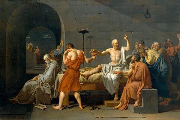 《蘇格拉底之死》,Jacques-Louis David作品,紐約市大都會美術館藏。(維基百科)