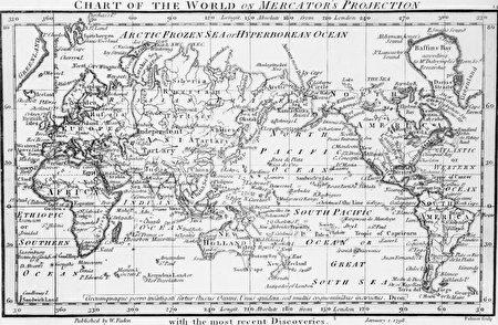波士顿公立学校上周宣布,它决定抛弃使用广泛的、有400年历史的麦卡托投影法地图,转而使用彼得斯投影法地图。图为麦卡托投影法地图。(Hulton Archive/Getty Images)