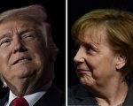 川普(特朗普)总统周五(3月17日)将欢迎德国总理默克尔访问白宫。(JIM WATSON,JOHN MACDOUGALL/AFP/Getty Images)