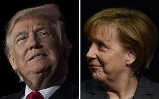 川普(特朗普)總統週五(3月17日)將歡迎德國總理默克爾訪問白宮。(JIM WATSON,JOHN MACDOUGALL/AFP/Getty Images)