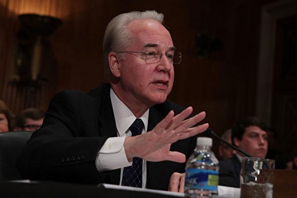 图为美国卫生部长普莱斯(Tom Price)在1月的国会听证会上。 (Alex Wong/Getty Images)
