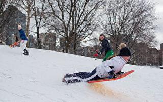 雪和狂风一旦停止,带着孩子出去滑雪橇会给孩子带来无穷乐趣。(Photo by Scott Eisen/Getty Images)