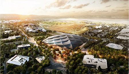 谷歌将在山景城建造的新总部园区设计效果图。(山景城市议会提供)