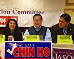 (左起)曼查卡(Denise Menchaca)、廖钦和、卜君毅(Jason Pu)在2月18日美国华人政治联盟背书会上。(刘菲/大纪元)