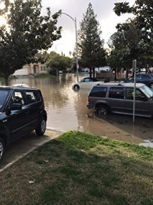 圣荷西居民家门前遭到淹水,车辆浸泡在水中,凸显购买洪水险的必要性。(读者提供)