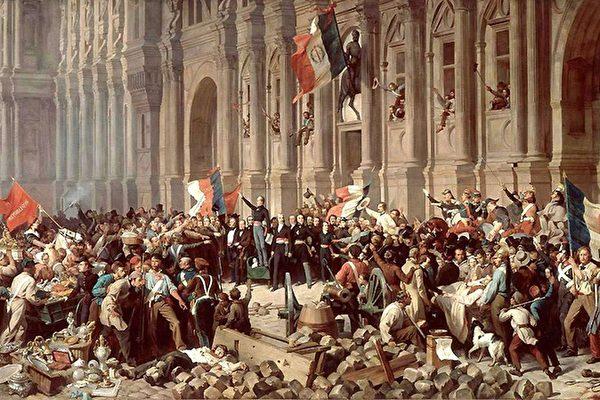 """这幅画中,亨利‧菲利斯‧艾曼纽‧菲利波多(Henri Félix Emmanuel Philippoteaux, 1815–1884)描绘了1848年2月25日,法国二月革命11人临时政府宣布成立共和国时的一幕。当时首脑拉马丁拒绝接受红旗,他告诉大众,红旗代表着恐怖、血腥和""""一党共和""""。(公有领域)"""