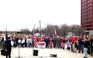 川普總統的支持者3月25日在費城獨立國家歷史公園集會現場。(凌浩/大紀元)