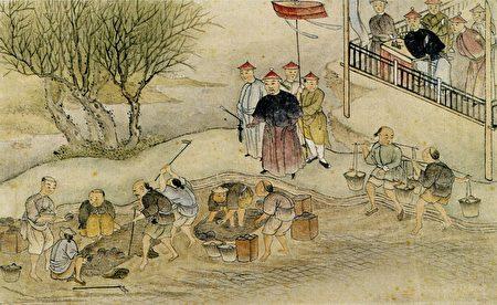 1840年描绘虎门销烟的中国画(维基百科公有领域)