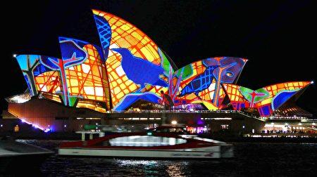 2016悉尼燈光節時被點亮的歌劇院。(安平雅/大紀元)