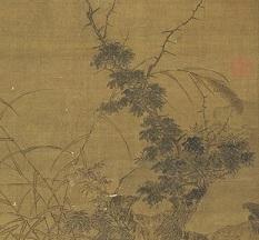 《平畴呼犊》,墨黑的杂树和牛母子遥望成三角布局,产生了稳定的结构。(公有领域)