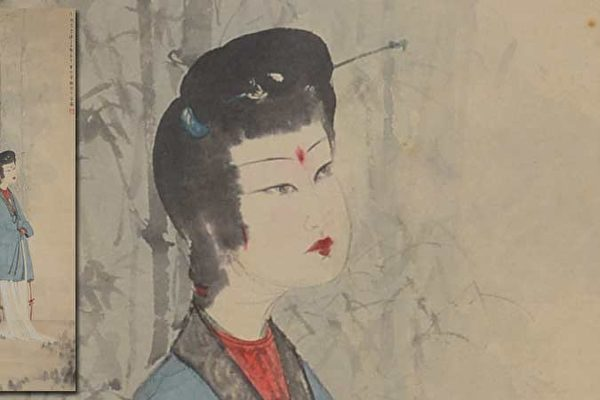 售出141万美元的傅抱石仕女画(Lady by the Bamboo)。(北加拍卖行Michaan's Auction提供)