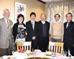 陳良基部長(左三)在經文處處長賴銘琪(右一)陪同下,與四位院士合影。(左起)梅強中,蔡立慧,丘成桐,姚鴻澤。(馮文鸞/大紀元)
