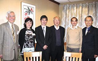 陈良基部长(左三)在经文处处长赖铭琪(右一)陪同下,与四位院士合影。(左起)梅强中,蔡立慧,丘成桐,姚鸿泽。(冯文鸾/大纪元)