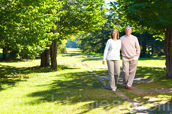二个头发开始灰白的人手牵着手散步,这是享受上天的祝福。(Fotolia)