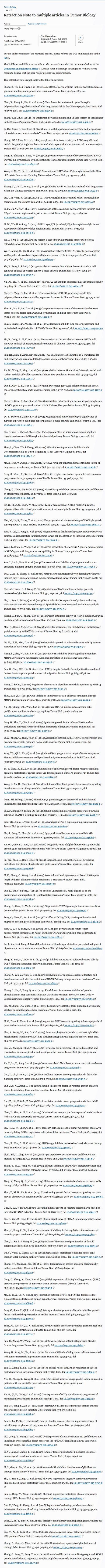 斯普林格所提供的论文造假名单。(截图)